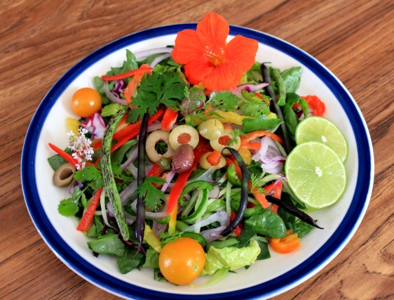 edible flowers on salad